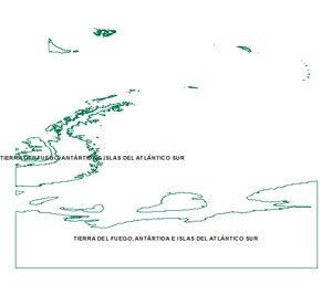 Mapa Tierra del fuego e islas
